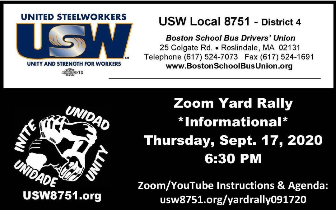 Local 8751 Zoom Yard Rally                                   THURS > 9/17 > 6:30 PM
